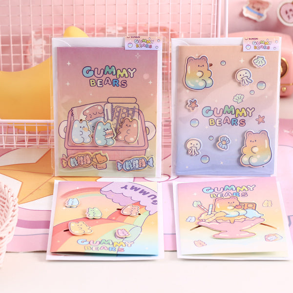 Jelly Bear Greeting Card-4pcs