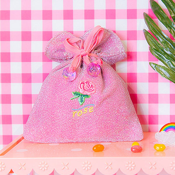 Bentoy Rose Embroidery Drawstring Storage Bags