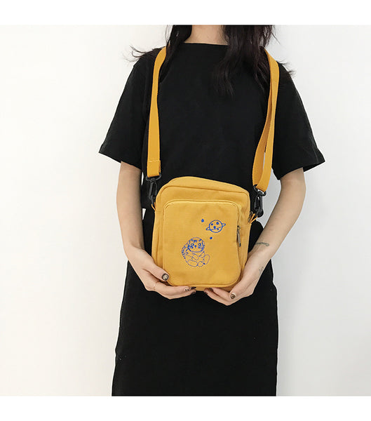 Canvas Cat Shoulder Bag