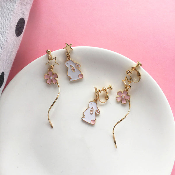 Sakura Rabbit Asymmetric Earrings