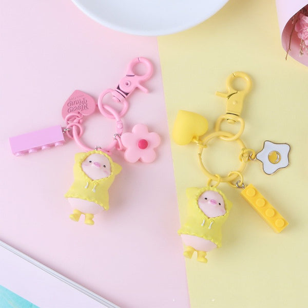 Kawaii Pig Flower Keychain