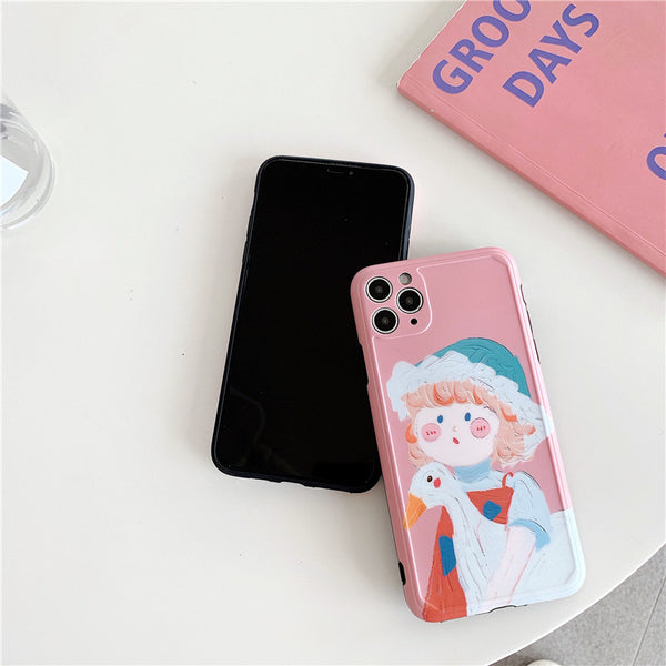 Cartoon Painting Girl Phone Cases