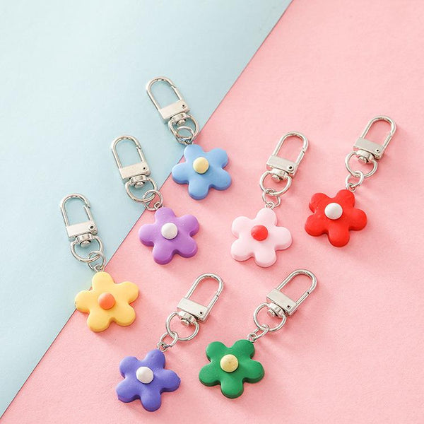 Colorful Flower Clay Keychain