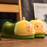 Cartoon Avocado Plush Slippers