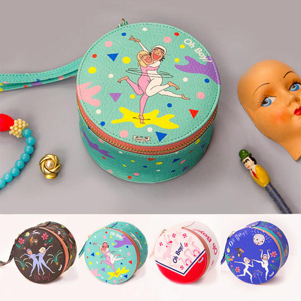 Bentoy Cartoon Leather Cylinder Jewelry Bag