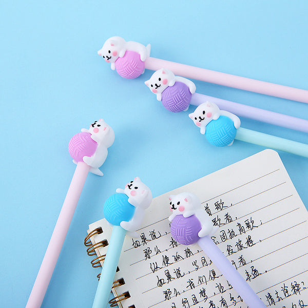Kitty Playing with Yarn Gel Pen-3pcs