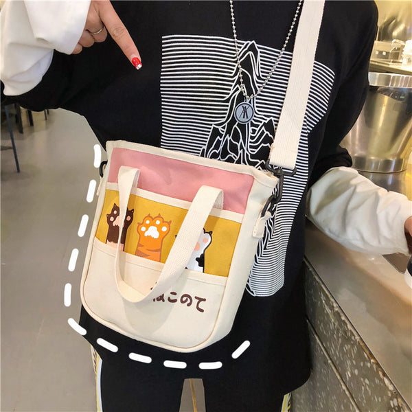 Cat Paw Canvas Shoulder Bag