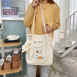Corduroy Embroidered Bear Shoulder Bag