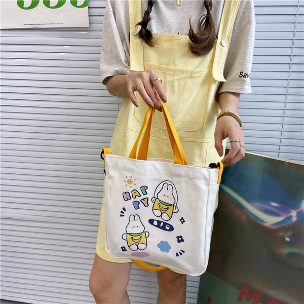 Cartoon Illustration Portable Diagonal Canvas Bag