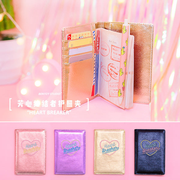 Bentoy Cute Leather Embroidered Passport Holder