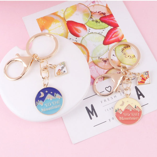Exquisite Flower Fan Mountain Keychain