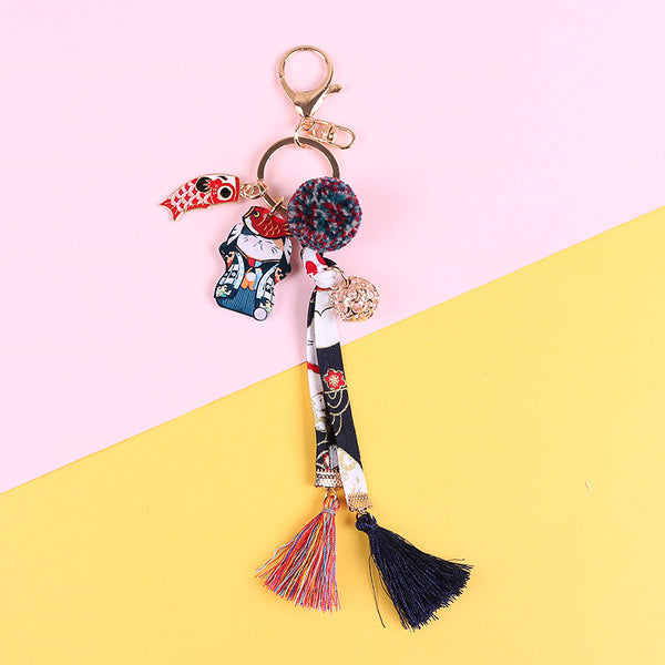 Kawaii Cat Flower Keychain