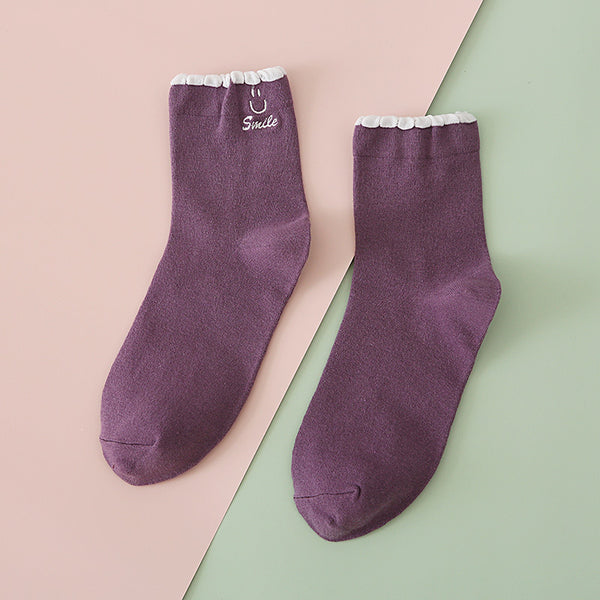 Embroidered Lace Smiley Socks