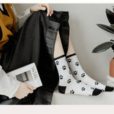 White Black Dog Socks
