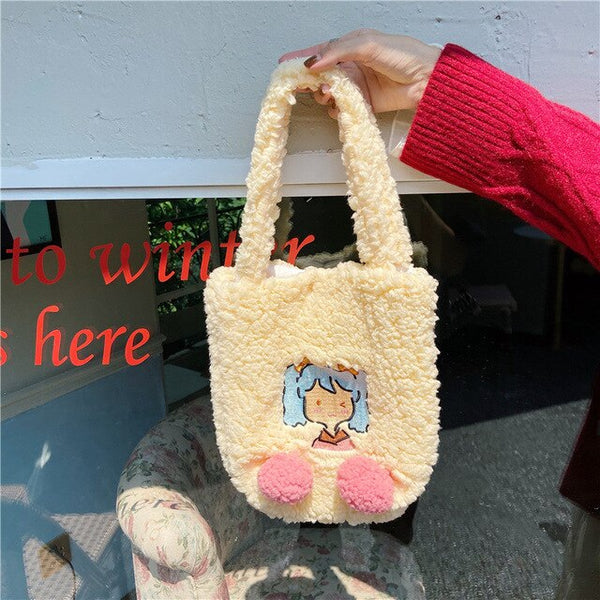 Kawaii Face Plush Tote Bag
