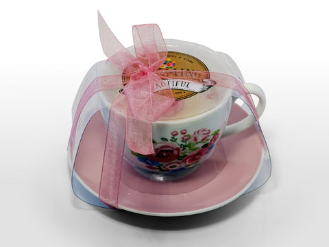 Floral Teacup Soy Wax Candle - Gift Boxed