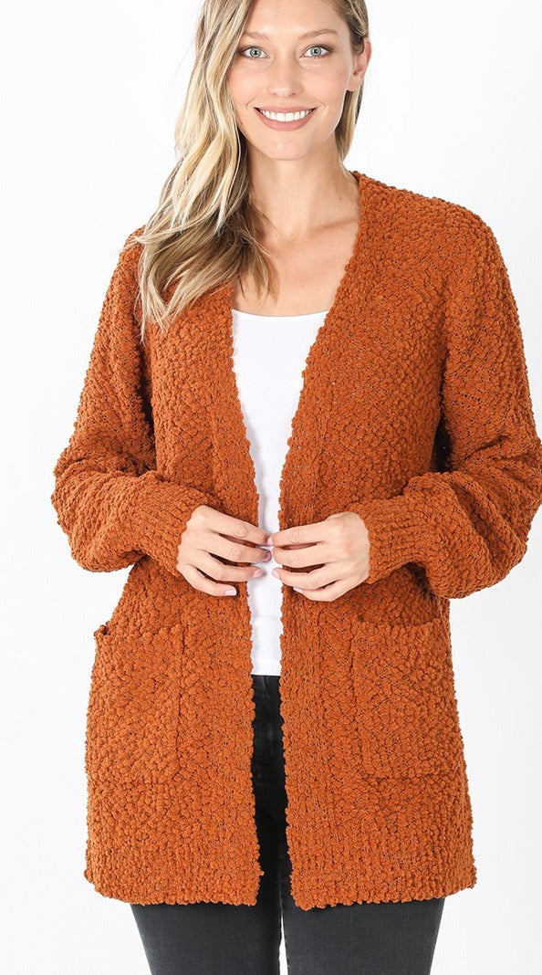 Heart Set On You Popcorn Cardigan - Almond