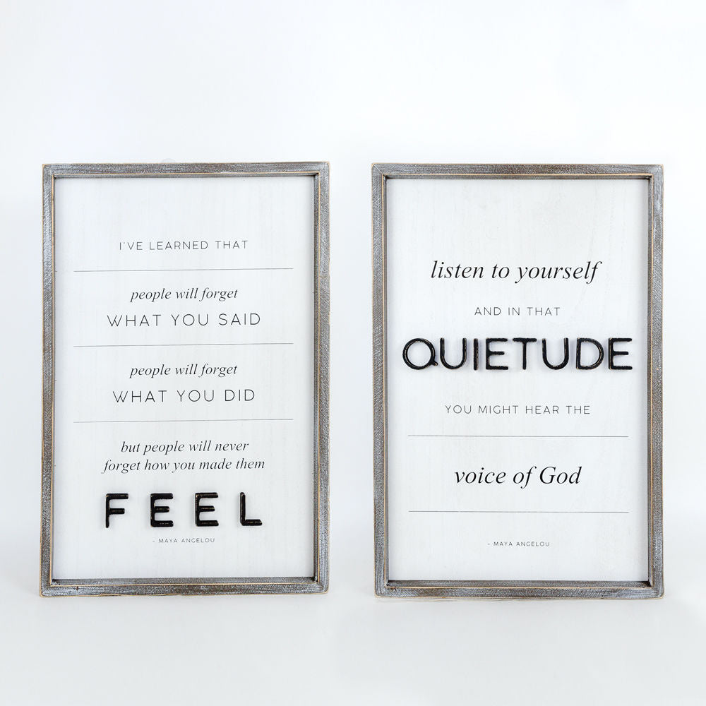 Quietude/Feel Double Sided Sign