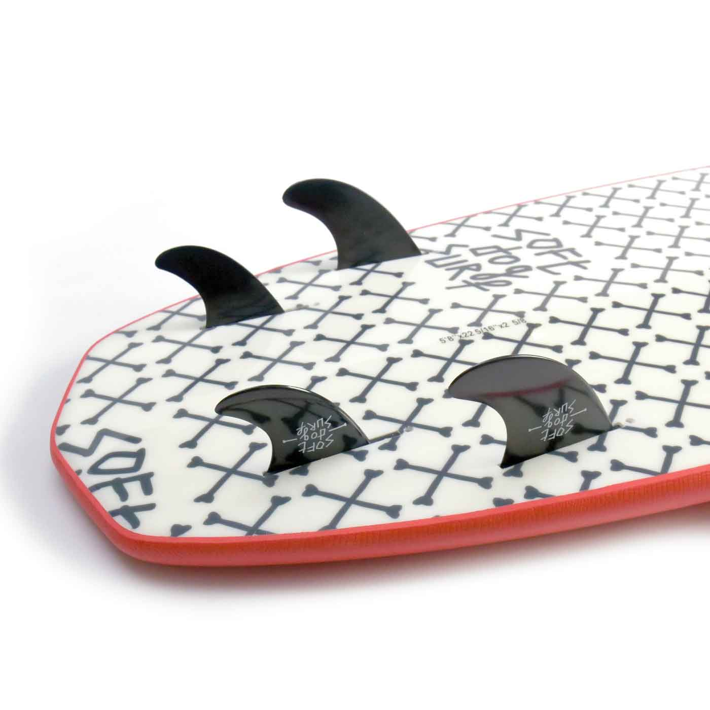 softdogsurf greyhound soft top surf board fins