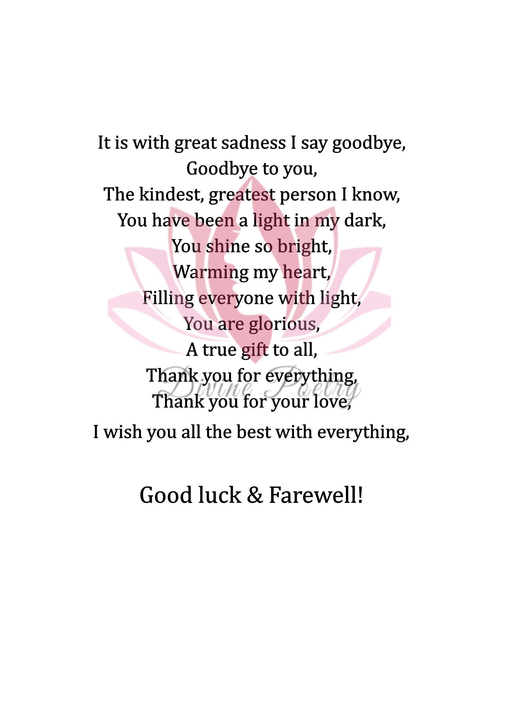 Farewell - Divine Poetry