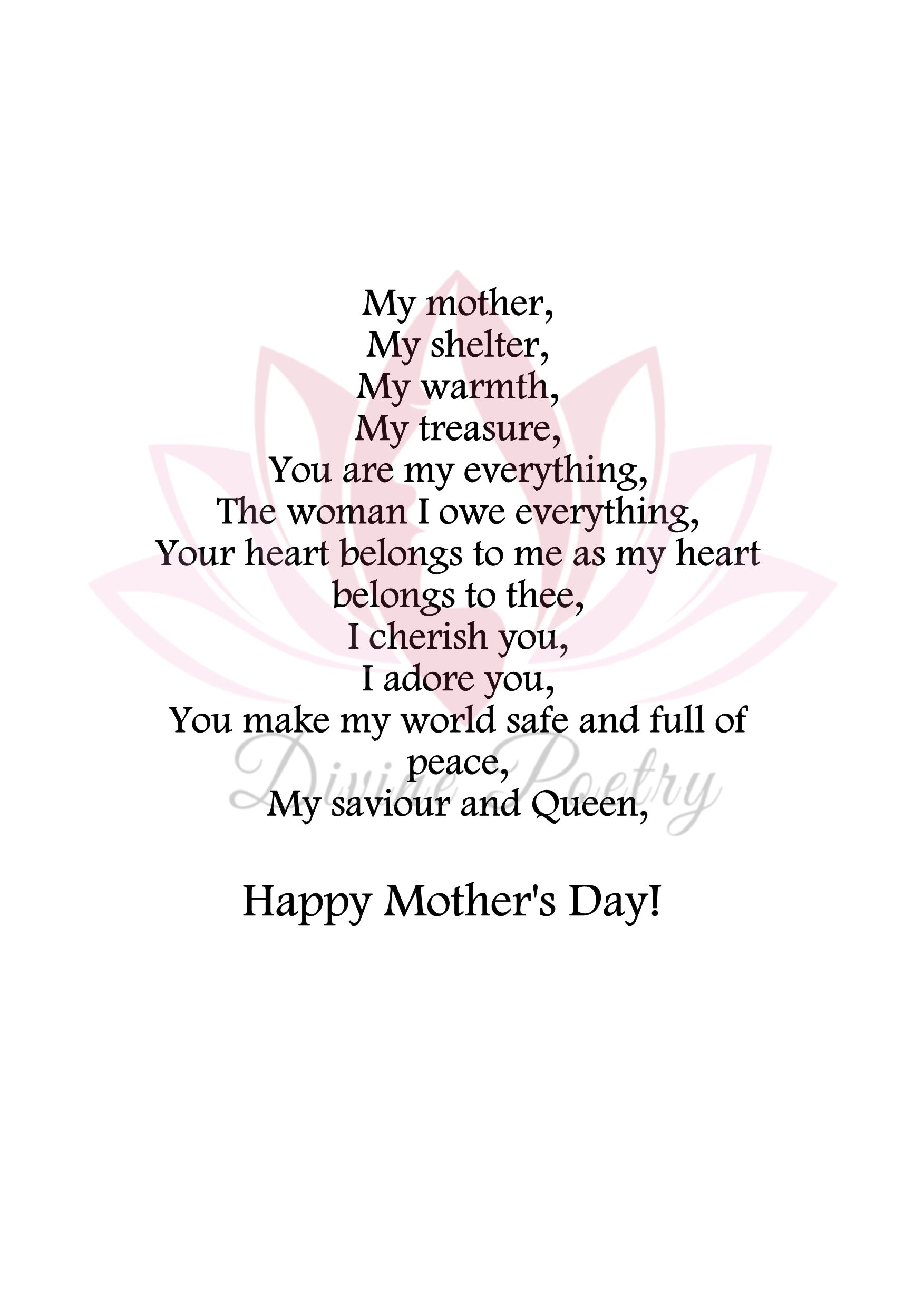 My Love, My Mother - Divine Poetry