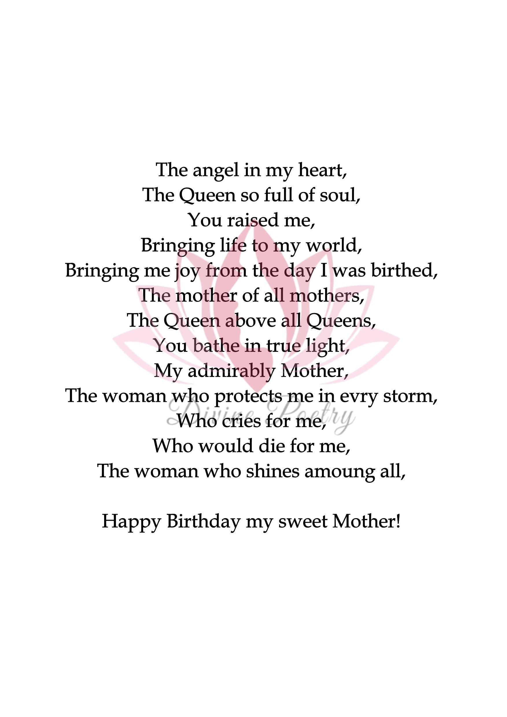 To My Sweet Mother - Divine Poetry