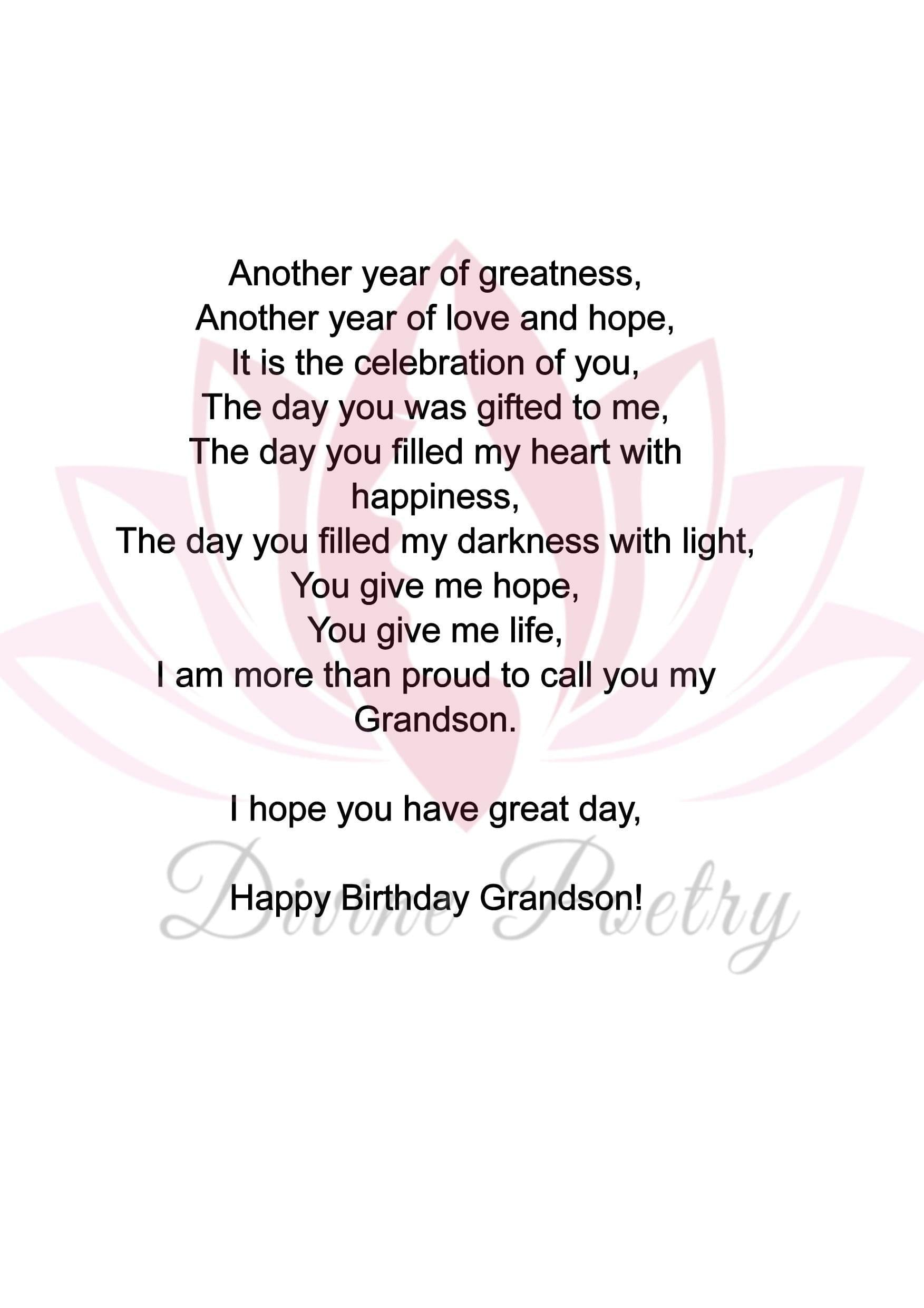 To My Grandson - Divine Poetry