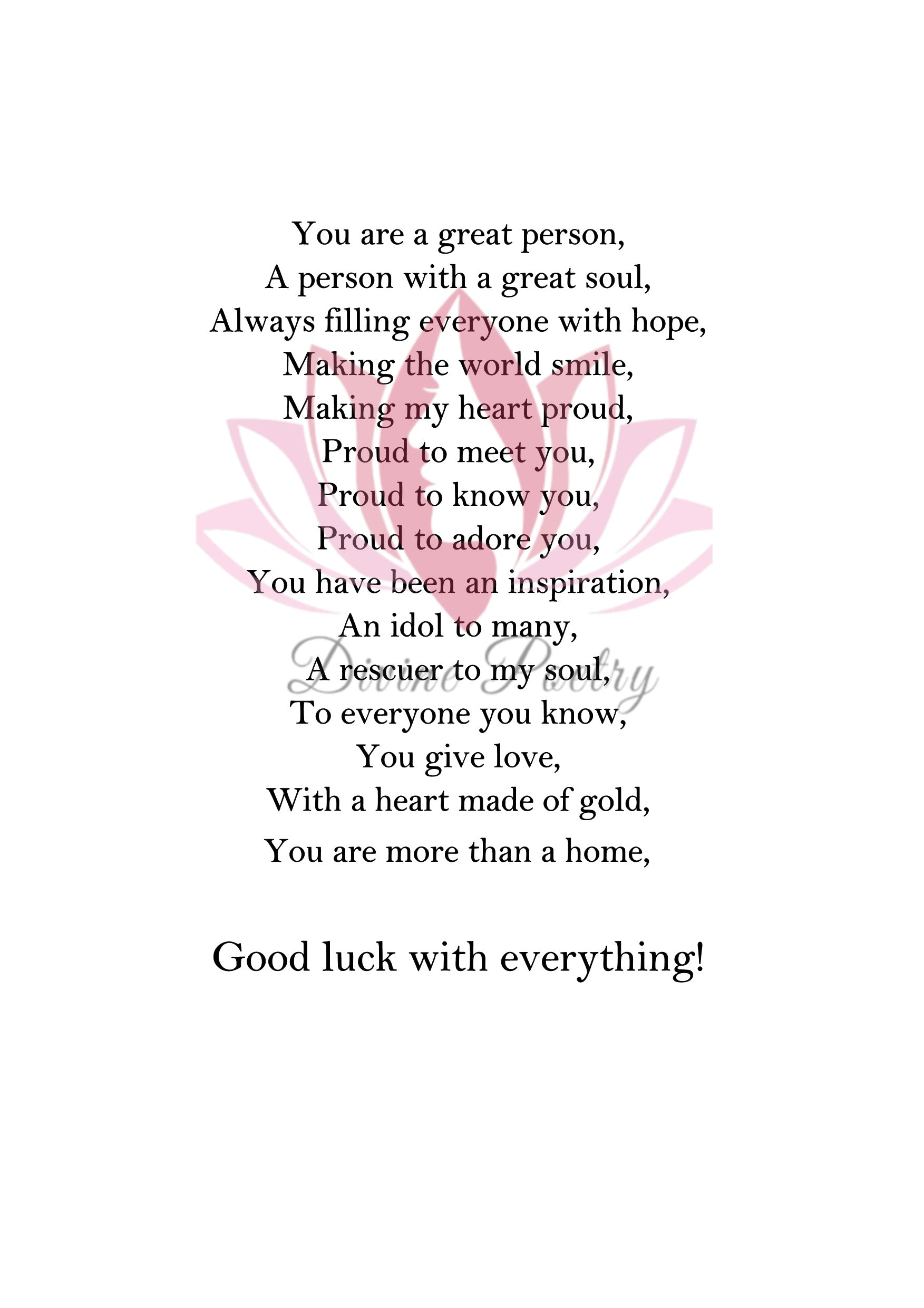 Good Luck - Divine Poetry