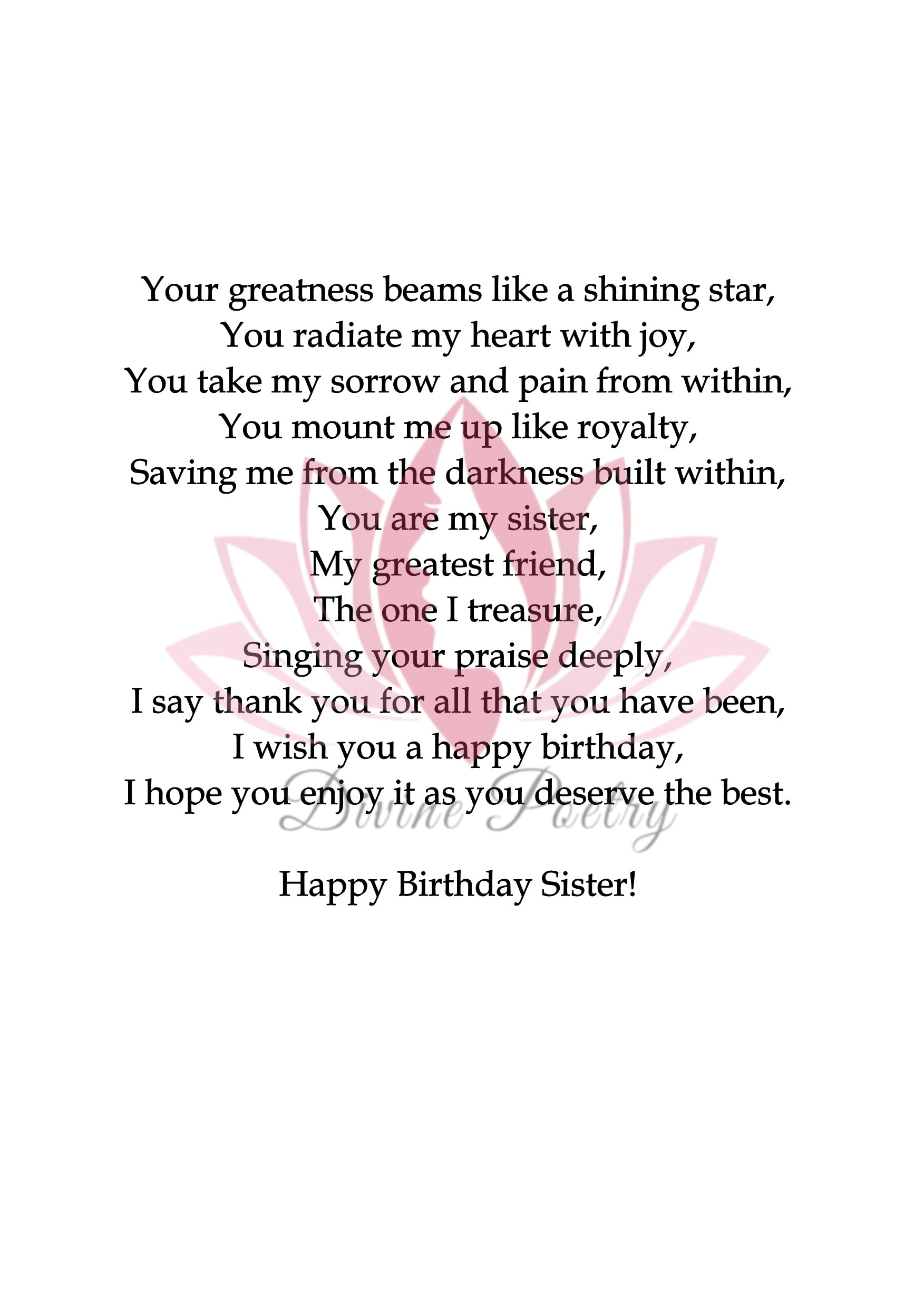 Happy Birthday Stepsister - Divine Poetry