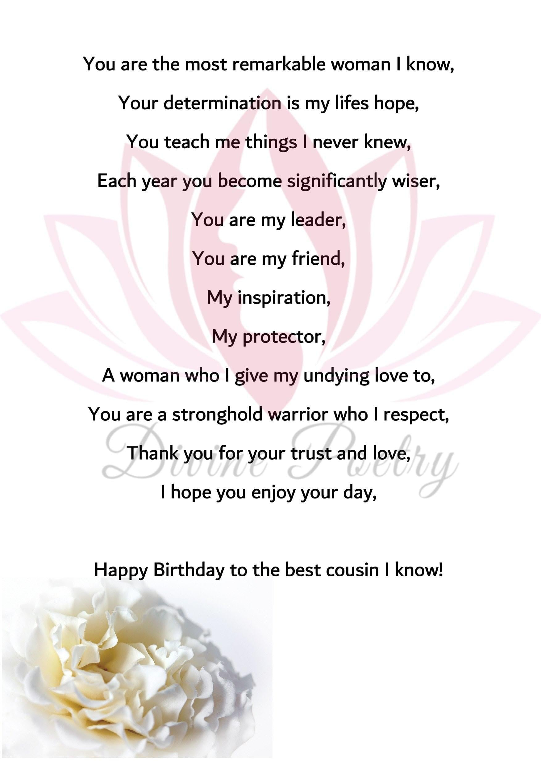 Happy Birthday Cousin - Divine Poetry