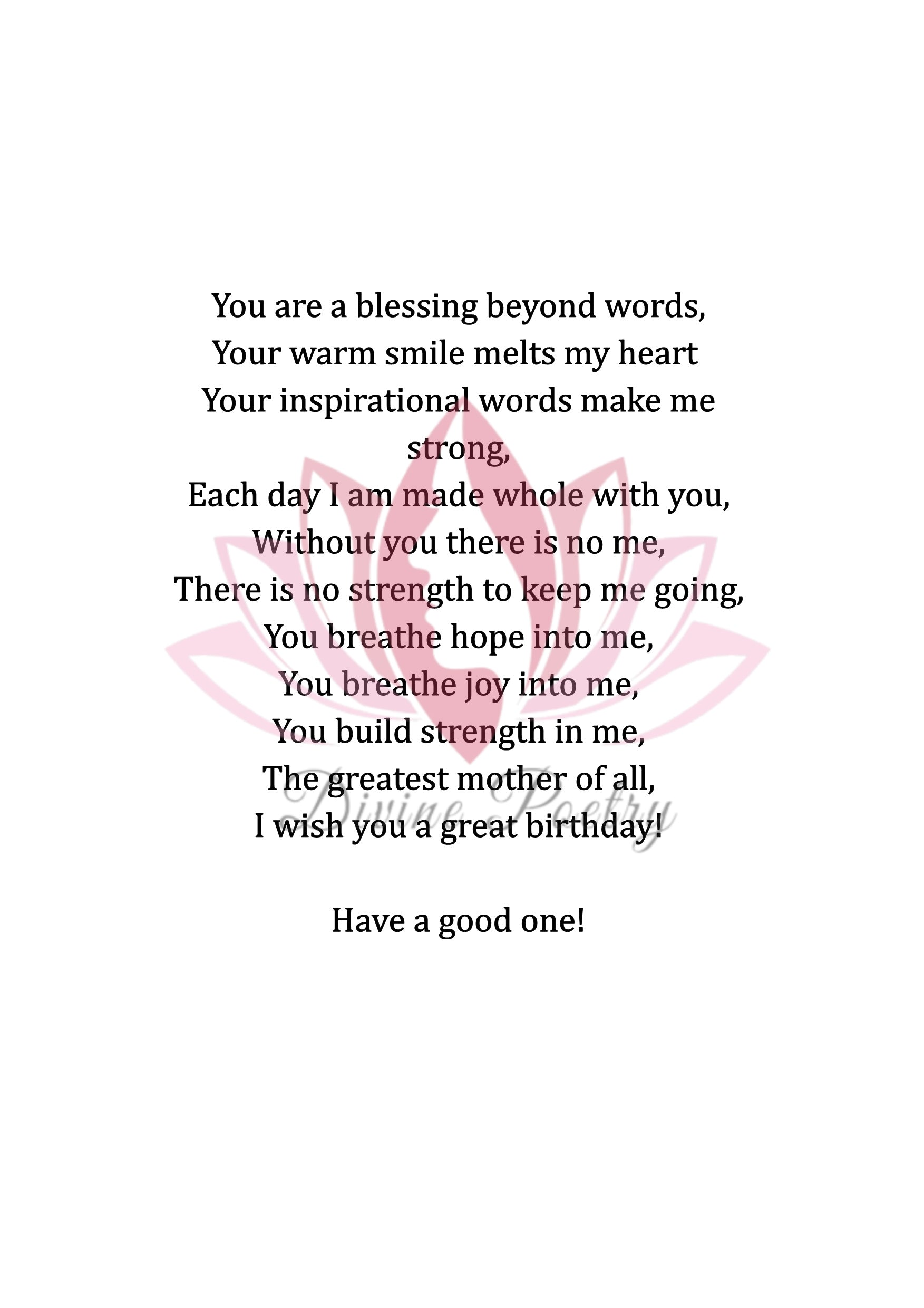 To My Great Stepmother - Divine Poetry