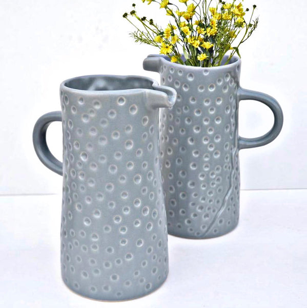 Dotty textured rustic jug - BlueGrey