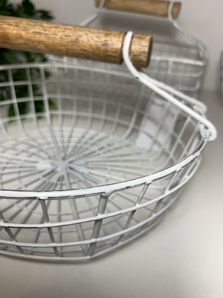 White rustic wire baskets