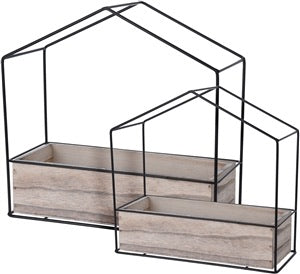 Pair of black wire house planters