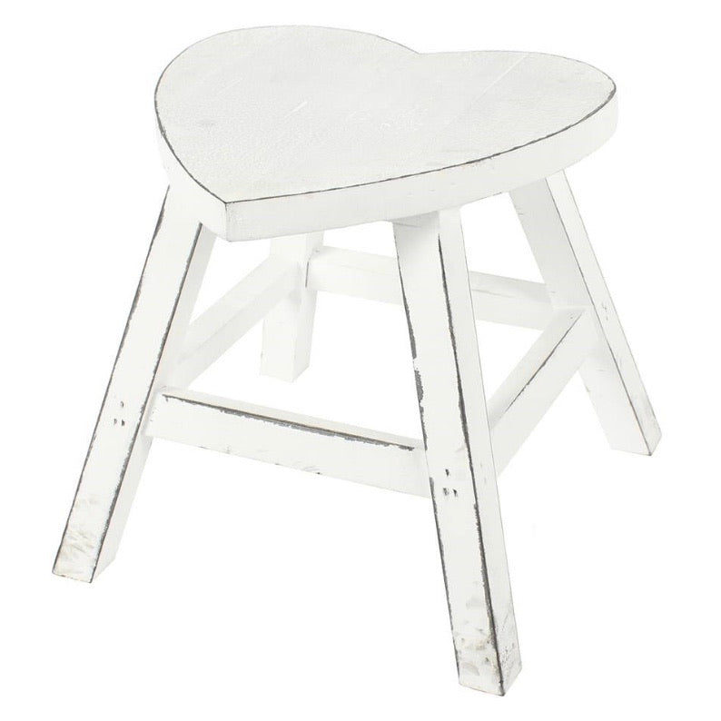 White distressed heart stool
