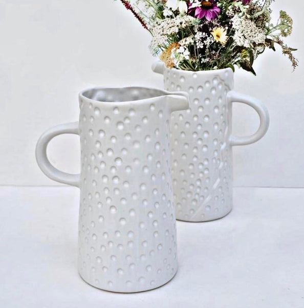 Dotty textured rustic jug - Off White