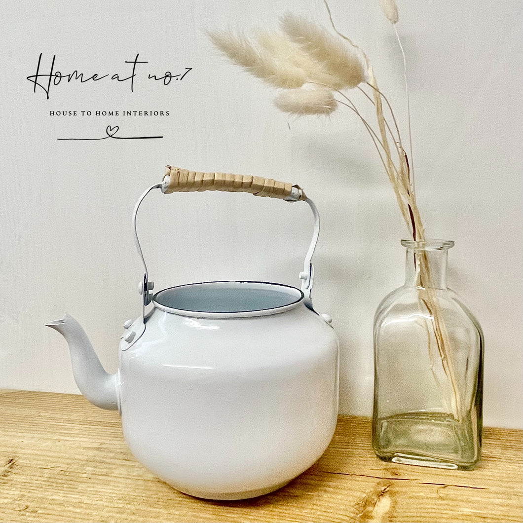 White metal teapot planter - Imperfect