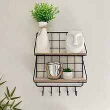 Load image into Gallery viewer, Black wire wall shelf with hangers