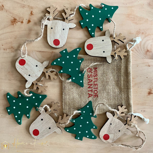 Wooden Reindeer & Tree Garland