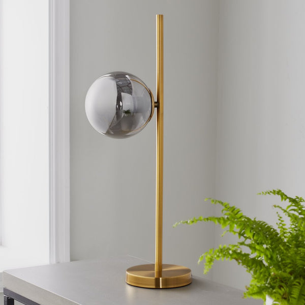 Glass Orb Gold Table Lamp