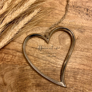 Hanging silver metal heart 10cm