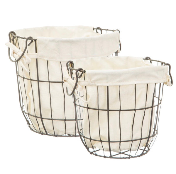Charcoal grey wire storage baskets