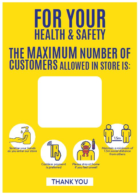 A3 Poster - Max Capacity for Customers