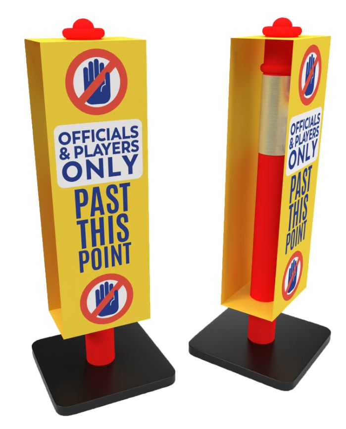 "Safety Bollard with ""Players & Officials"" Sign"