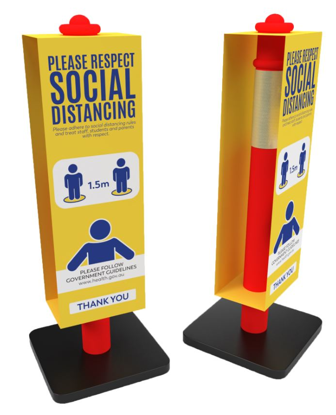 "Safety Bollard with ""Respect Social Distancing"" Sign"