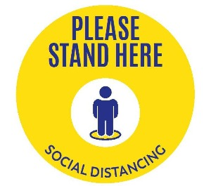 Floor Decal - Please Stand Here - For Carpet