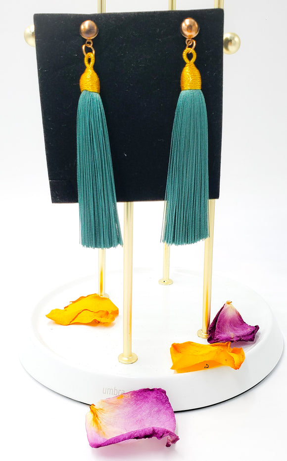 Seafoam Green Fringe Earrings