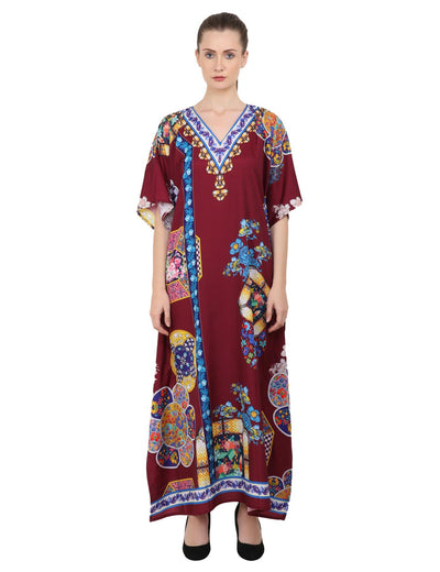 Women's Kaftans Plus Size Loungewear Long Maxi Style Dress [145-Maroon]
