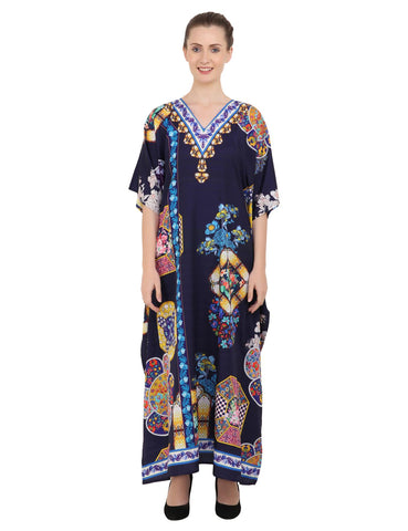 Women's Kaftans Plus Size Loungewear Long Maxi Style Dress [145-Navy]