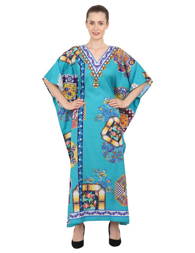 Women's Kaftans Plus Size Loungewear Long Maxi Style Dress [145-Teal]